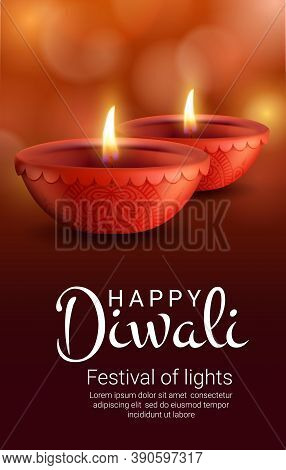 Diya Lamps Of Indian Diwali Light Festival, Vector Hindu Religion. Deepavali Holiday Oil Lamps Or Ca