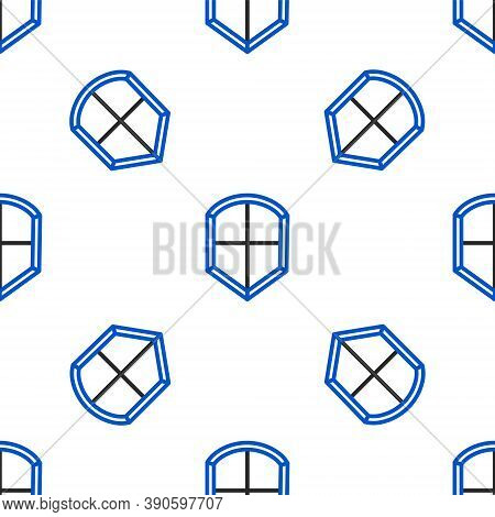 Line Shield Icon Isolated Seamless Pattern On White Background. Guard Sign. Security, Safety, Protec