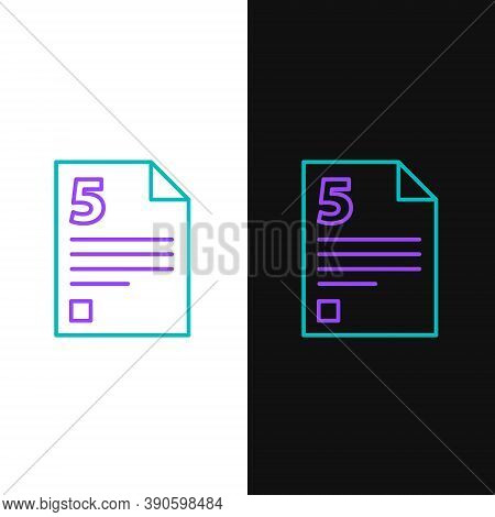 Line Test Or Exam Sheet Icon Isolated On White And Black Background. Test Paper, Exam Or Survey Conc