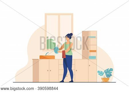 Woman Washing Dishes At Home. Household Chores, Kitchen. Flat Vector Illustration. Housework Concept