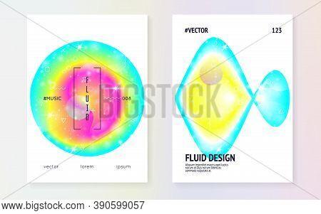 Liquid Elements. Chemical Frame. Futuristic Background. Modern Holographic Gradient, Blur, Mesh, Ble