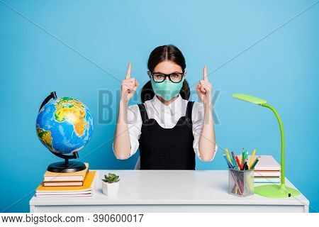 Portrait Of Her She Nice Attractive Genius Brainy Diligent Girl In Reusable Mask Sitting Showing For