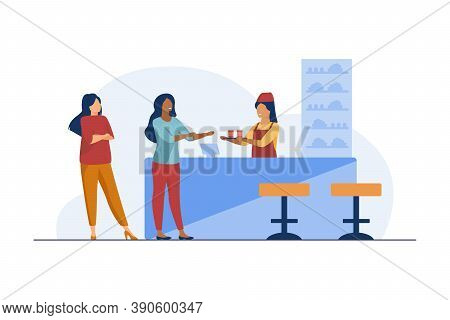 Barmaid Giving Dish To Cafe Visitor. Drink, Beverage, Snack. Flat Vector Illustration. Catering Serv