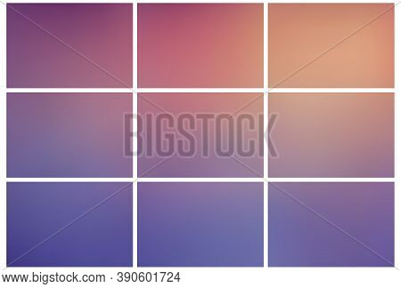 Gradient Multicolor Abstract Backgrounds Set. Collection Of Simple Colored Gradient Mesh Backgrounds