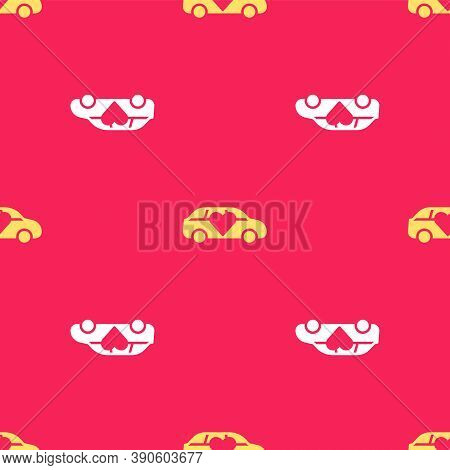 Yellow Luxury Limousine Car Icon Isolated Seamless Pattern On Red Background. For World Premiere Cel