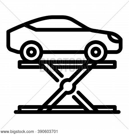 Automotive Lift Icon. Outline Automotive Lift Vector Icon For Web Design Isolated On White Backgroun