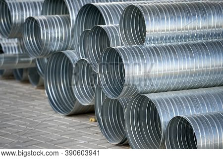 Ventilation Pipes Are Stacked. Ventilation Texture, Background. Ventilation System.