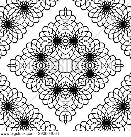 Design Seamless Decorative Lacy Pattern. Abstract Diamond Monochrome Background. Vector Art
