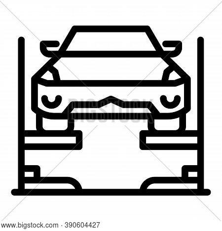 Auto Service Lift Icon. Outline Auto Service Lift Vector Icon For Web Design Isolated On White Backg