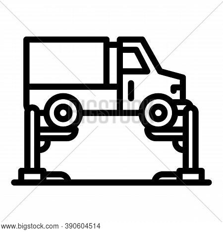 Big Car Lift Icon. Outline Big Car Lift Vector Icon For Web Design Isolated On White Background