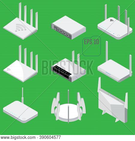 Router Isometric Icons Set. Set Of Wifi Router Vector Icons For Web Design. Isolated
