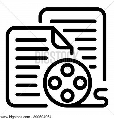 Reel Scenario Icon. Outline Reel Scenario Vector Icon For Web Design Isolated On White Background