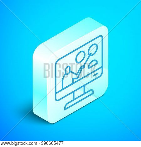 Isometric Line Online Education And Graduation Icon Isolated On Blue Background. Online Teacher On M