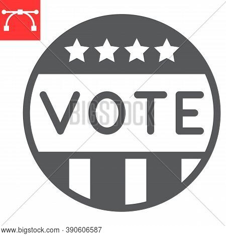Vote Badge Glyph Icon, Election And Democratic, Vote Button Sign Vector Graphics, Editable Stroke So