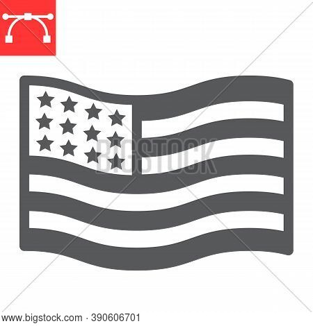 American Flag Glyph Icon, America And Country, Usa Flag Sign Vector Graphics, Editable Stroke Solid