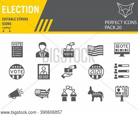 Voting And Election Glyph Icon Set, Vote Collection, Vector Sketches, Logo Illustrations, Elections