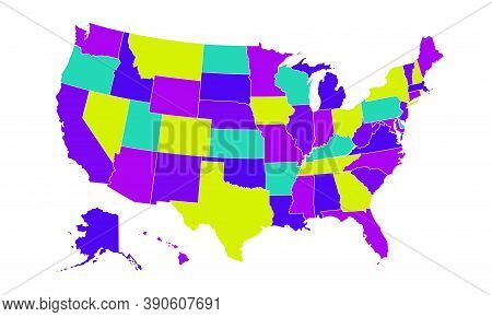 Colored United States Of America Map. Us Background Template. Map Of America With Separated Countrie