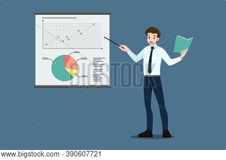 Businessman Pointing To The Screen For Educate, Presentation, Meeting, Conference, Mentor, Coach On