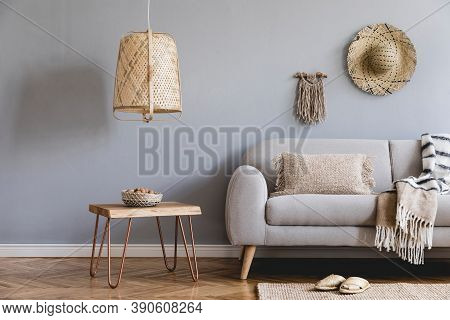 Design Home Interior Of Living Room With Gray Sofa,furniture, Decoration And Elegant Accessories. St