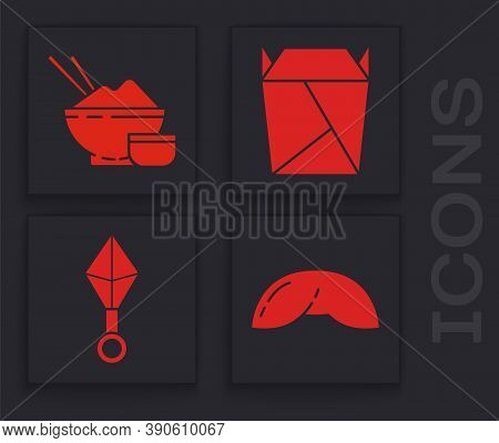 Set Chinese Fortune Cookie, Rice In A Bowl With Chopstick, Rstaurant Opened Take Out Box Filled And