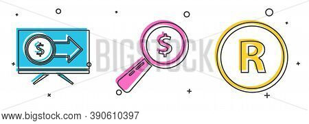 Set Monitor With Dollar, Magnifying Glass And Dollar And Registered Trademark Icon. Vector