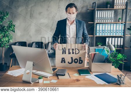 Photo Of Sad Layoff Dismissed Worker Mature Jobless Guy Hold Placard Poster Search Job Packing Stuff