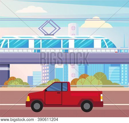 Red Pickup On Asphalted Road. Suburban Electric Train Above Ground. City Transport, Modern Technolog