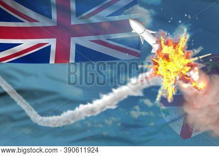 Strategic Rocket Destroyed In Air, Fiji Ballistic Missile Protection Concept - Missile Defense Milit