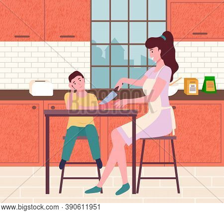 Mother And Son Cook Food. Flat Illustration Vector Family Working In The Kitchen. Family Cooking Eat