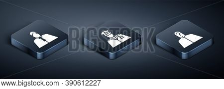 Set Isometric Lawyer, Attorney, Jurist, Anonymous With Question Mark And Police Officer Icon. Vector