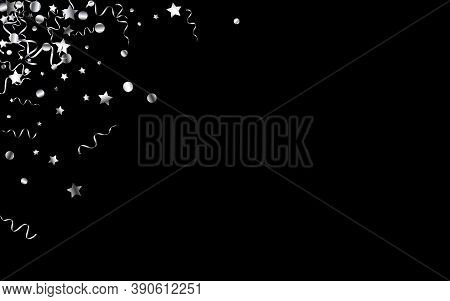 Silver Streamer Christmas Vector Black Background. Party Serpentine Invitation. Spiral Isolated Plan