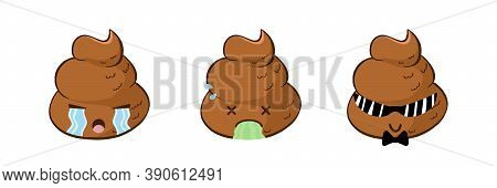 Vector Emoji Set Of Funny Poop Cry, Puke, And Being A Cool Guy. Cute Poo Emoticons With Different Mo