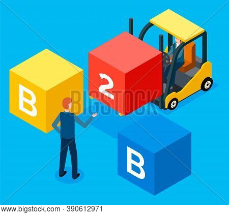 Busines To Business Flat Isometric Vector Concept. People Workers Are Compounding The Word B2b. Man