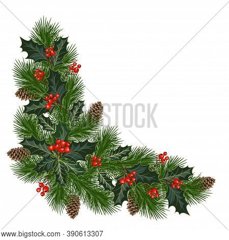 Christmas Decorations With Fir Tree, Pine Cones, Holly, Berries And Decorative Elements. Design Elem