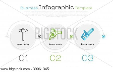 Set Line Sledgehammer, Leaf Garden Blower And Chainsaw. Business Infographic Template. Vector