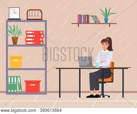 Office Staff, Manager Work And Communication. Office Worker At The Table. Business Employees On Thei