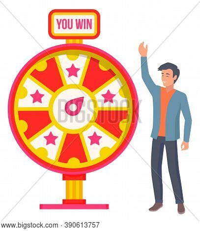Gambling Game Winning And Losing Money Playing Fortune Wheel. Male Character Spinning Circle With St