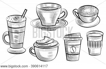 Coffee Serving Vector, Isolated Set Of Sketches Outline. Bean On Plastic Container For Beverage Take
