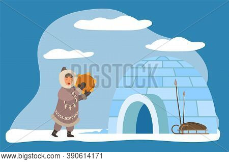Inuit Or Eskimos Playing Musical Instrument By Igloo Ice House. Personage Wearing Warm Traditional C