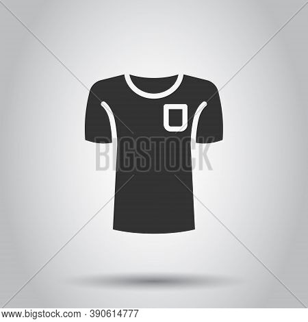Tshirt Icon In Flat Style. Casual Clothes Vector Illustration On White Isolated Background. Polo Wea