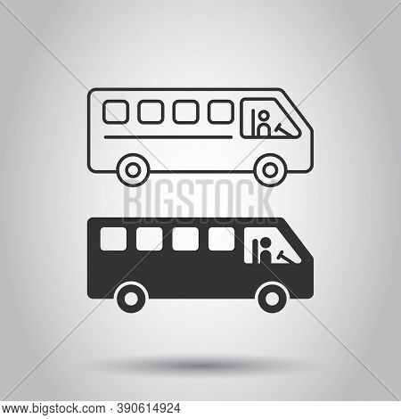 Bus Icon In Flat Style. Coach Vector Illustration On White Isolated Background. Autobus Vehicle Busi