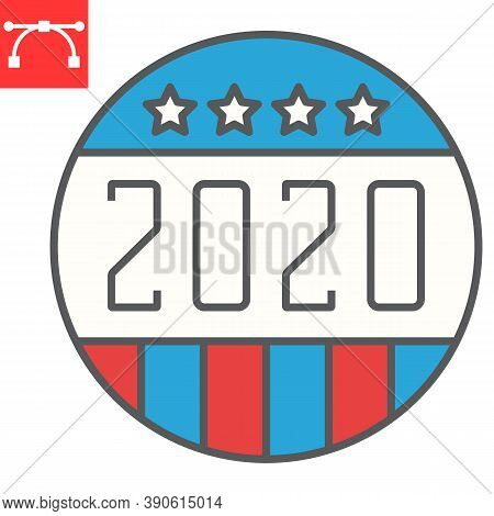 Vote Badge 2020 Color Line Icon, Election And Democratic, Vote Button Sign Vector Graphics, Editable