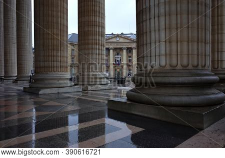 Paris, France - November 20, 2018: Town Hall of Paris 5th arrondissement seen from Pantheon colonnade, Classic architecture detail