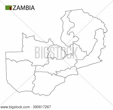 Zambia Map, Black And White Detailed Outline Regions Of The Country.