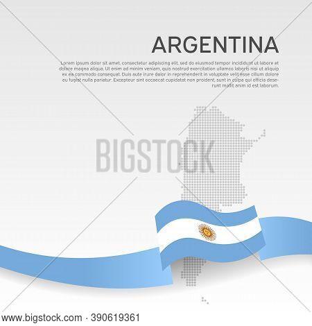 Argentina Wavy Flag And Mosaic Map On White Background. National Poster. Wavy Ribbon Argentina Flag
