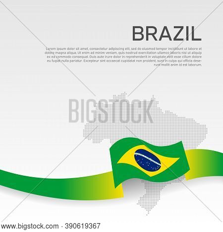 Brazil Wavy Flag And Mosaic Map On White Background. Wavy Ribbon Color Flag Of Brazil. National Post