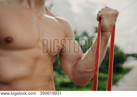 Unrecognizable Strong Man Has Workout With Resistance Band, Gets Stronger Every Day, Shows Well Buil