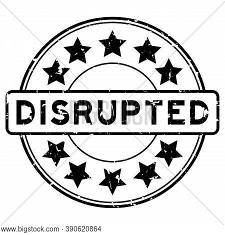 Grunge Black Disrupted Word With Star Icon Round Rubber Seal Stamp On White Background