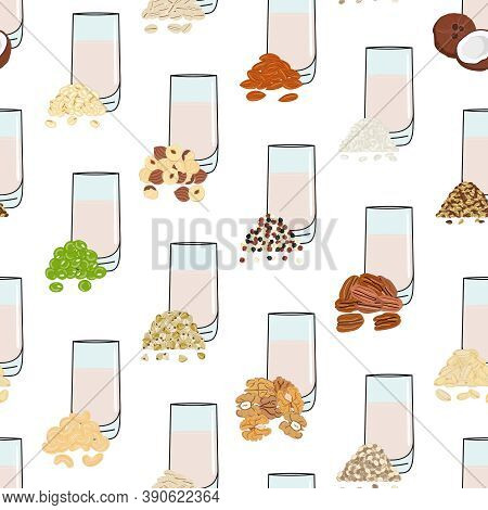Seamless Pattern Of Glasses With Plant-based Milk. Vegan Milk In Glass