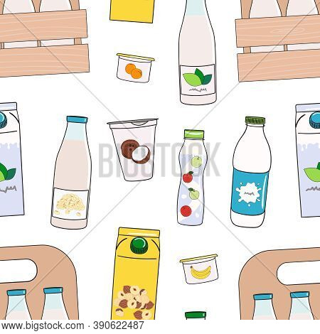 Seamless Pattern Of Milk, Dairy Products And Vegan Milk Alternatives
